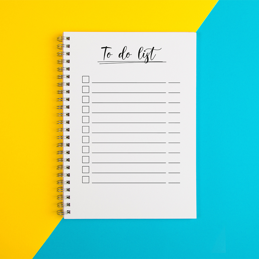 To do list on a yellow and blue background