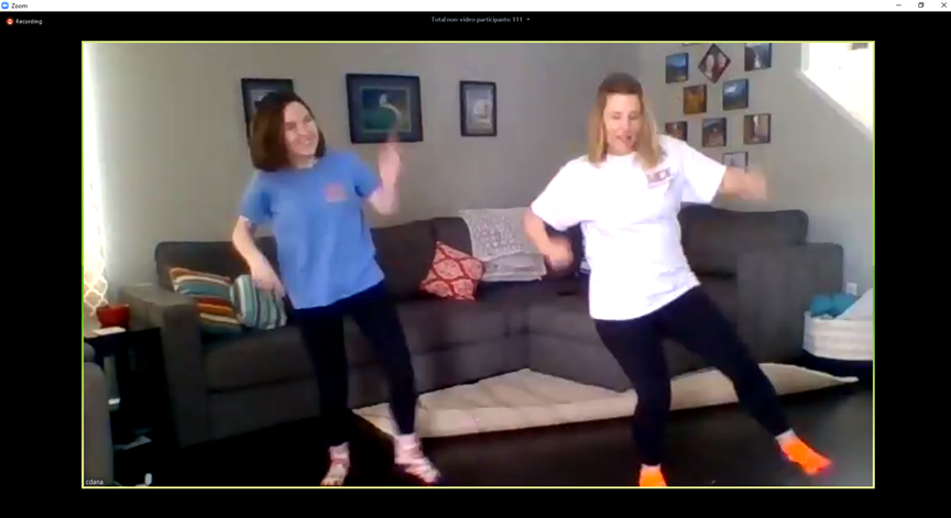 Two women dancing
